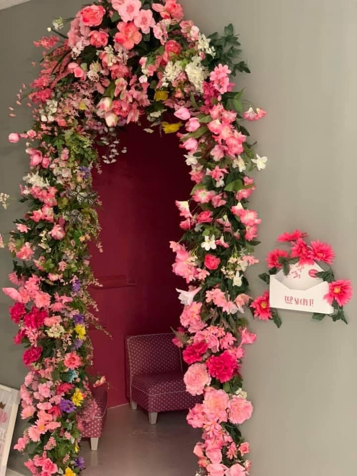 door decorated with flowers